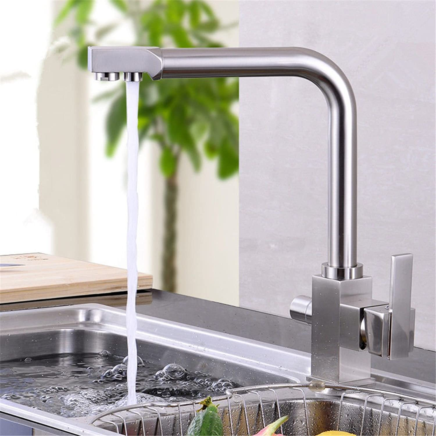 Hlluya Professional Sink Mixer Tap Kitchen Faucet The Brass chrome 2-hole course basin mixer redation sink cold water faucet kitchen faucet,