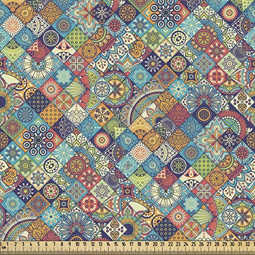 ABAKUHAUS Bohemio Tela por Metro, Gente A Cuadros, Decorativa para Tapicería y Textiles del Hogar, 1M (148x100cm), Multicolor