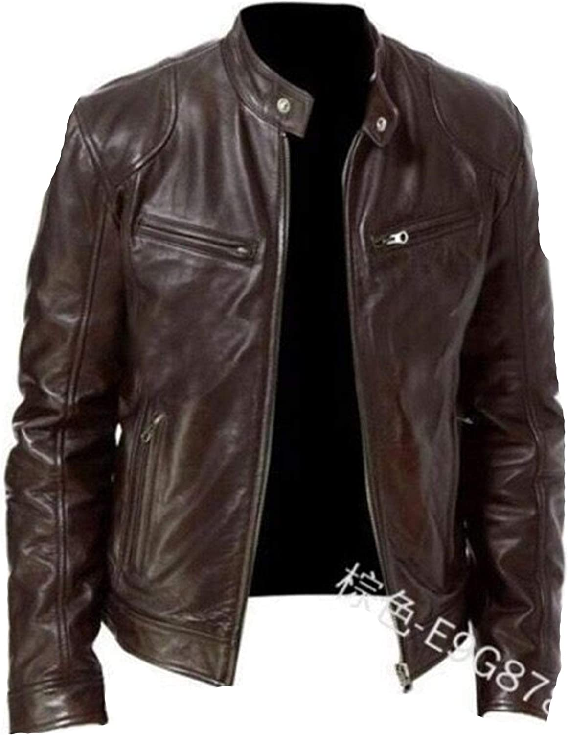 Soluo Men's Faux Leather Motorcycle Biker Now free Great interest shipping Jacket Vintage