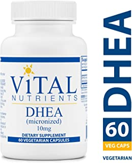 Vital Nutrients - DHEA (Micronized) 10 mg - Supports Metabolism, Hormone Levels and Energy Levels - 60 Vegetarian Capsules per Bottle