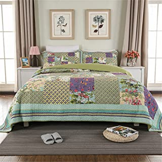Abreeze 3PCS Luxury Bedding Set Frosted Pastel Gardenia Bohemian Cotton Patchwork Quilted Coverlet Bedspread Set Vibrant Floral Paisley Colorful Blue Lavender Green Print King Size
