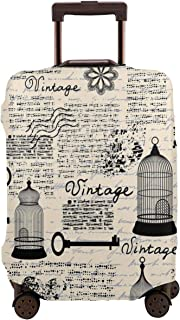 Travel Luggage Cover,Grunge With Bird Cages Keys Heart Shapes And Flower Suitcase Protector