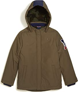 Tommy Hilfiger Boys' Adaptive Parka with Hood and Magnetic Buttons, GRAPELEAF
