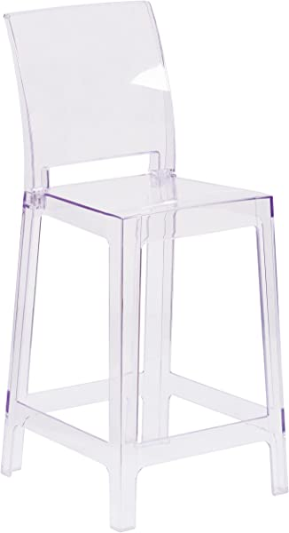 Flash Furniture Ghost Counter Stool With Square Back In Transparent Crystal