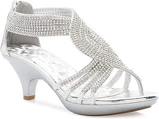 Women's Open Toe Strappy Rhinestone Dress Sandal Low Heel Wedding Shoes