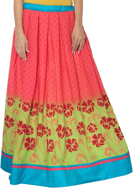 Indian Handicrfats Export Admyrin Women Yellow and Pink Cotton Skirt