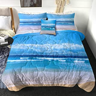 Sleepwish Blue Ocean Comforter Set Ultra Soft 3D Print Bedding for Twin Size Bed 4 Pieces Tropical Bedding Sets for Beach ...