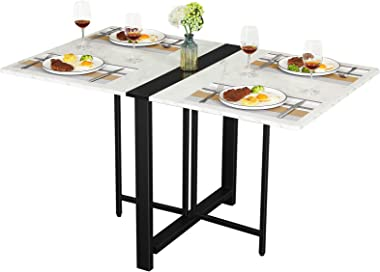 Tiptiper Folding Dining Table, Drop Leaf Table for Small Space, Folding Kitchen Table, Space Saving Dining Room Table, White