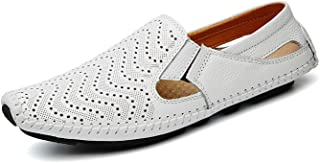 Asifn Men's Leather Loafer Shoes Casual Driving Shoes Slipper Slip on Flats Boat Shoes