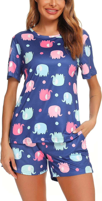 FINWANLO Womens Popular Cheap SALE Start Pajamas Set Short Shorts and Top Sleeve Sleepwea