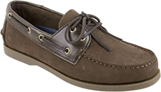 Rugged Shark Men's Classic Boat Shoes, Genuine Leather with Odor Control Technology, Brown, Men's Size 8.5