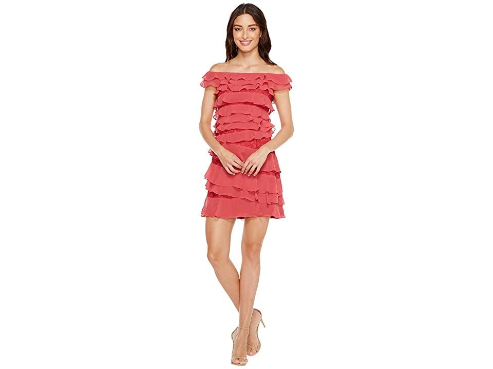 Adrianna Papell Cynthia Lace Off the Shoulder Tiered Dress (Amaranth) Women