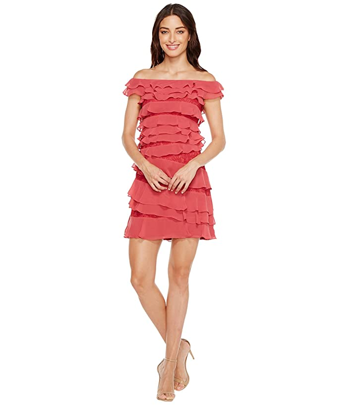 Adrianna Papell Cynthia Lace Off The Shoulder Tiered Dress 6pm