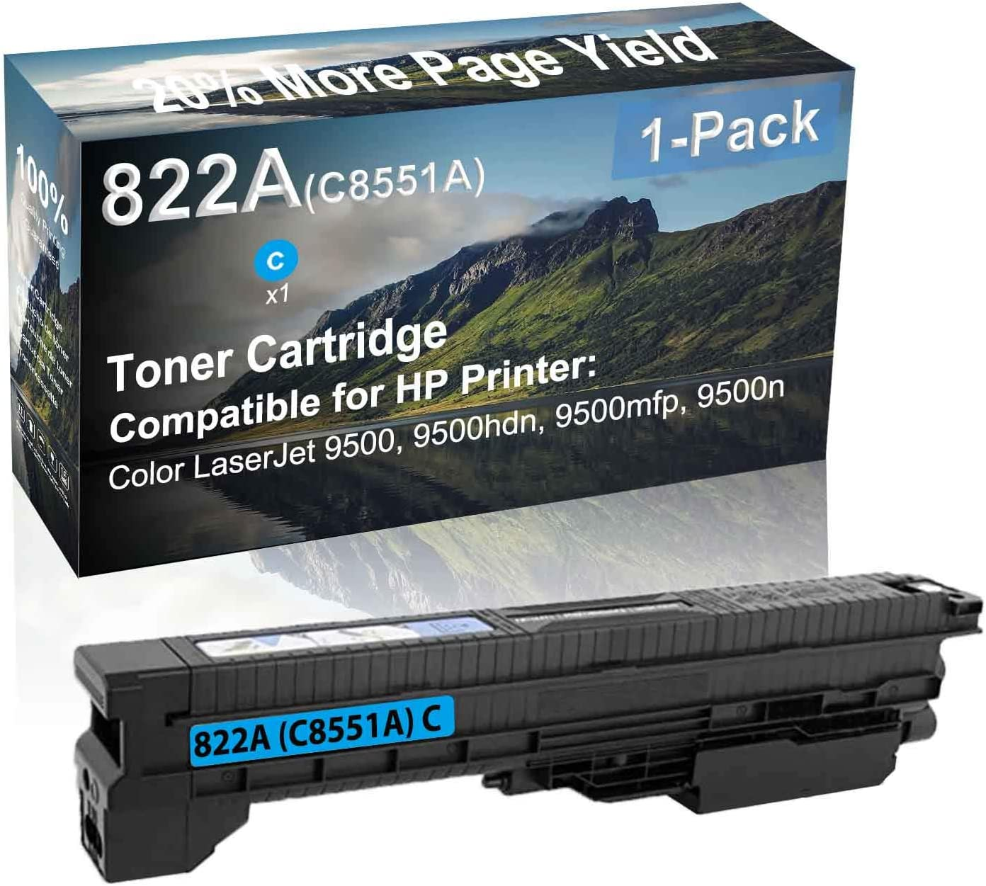 1-Pack (Cyan) Compatible High Yield 822A (C8551A) Laser Printer Toner Cartridge use for HP 9500, 9500hdn, 9500mfp, 9500n Printer