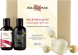 Naissance His & Hers Lovin` Massage Oil Gift Set - 100% Natural Therapeutic Oils - for Sensual and Romantic Massage