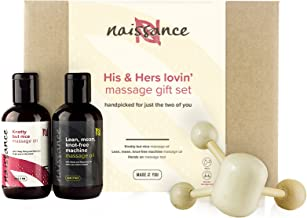 Naissance His & Hers Lovin' Massage Oil Gift Set - 100% Natural Therapeutic Oils - for Sensual and Romantic Massage