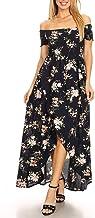 Anna-Kaci Women's Casual Floral Smocked Long Off Shoulder Hi-Lo Long Maxi Dress
