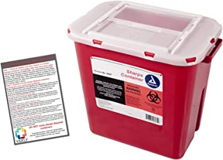 Sharps Container 2 Gallon - Plus Vakly Biohazard Disposal Guide (1 Pack)