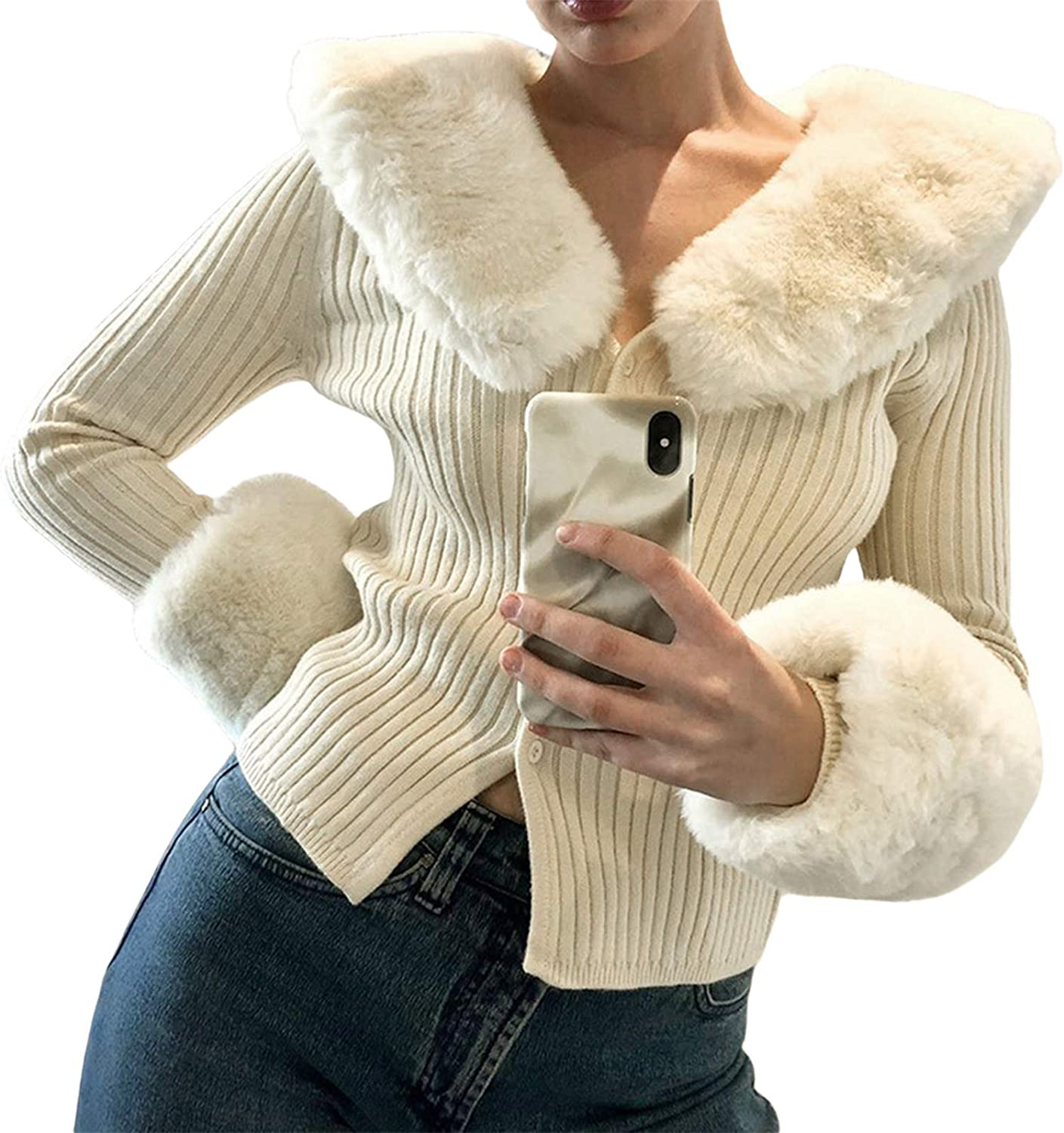 Women's Fluffy Long Sleeve V-Neck Cropped Knit Cardigan Sweater Solid Pullover Tops with Faux Fur Trim Collar Cuffs