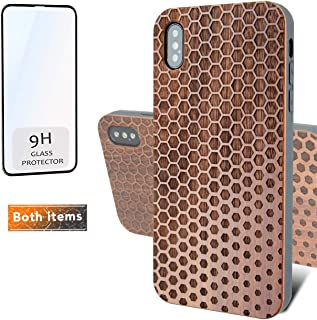 iProductsUS Geometric Phone Case Compatible with iPhone XR and Screen Protector, Engraved Hexagons Dark Wood Case, Built-in Metal Plate,Compatible Wireless Charging,TPU Shockproof Cover (6.1 inch)