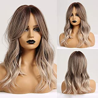 Ombre Brown Light Ash Blonde Medium Wave Wig Natural Look Realistic Wig Synthetic Hair Wig Heat Resistant Fiber Daily Fals...