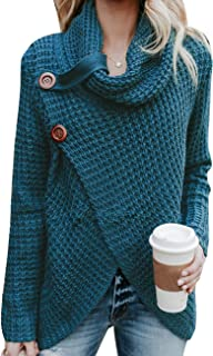 Sexyshine Women's Turtle Cowl Neck Chunky Pullover Sweaters Cable Knitted Irregular Hem Coats Button