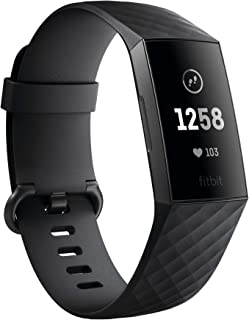 Fitbit Charge 3 Fitness Activity Tracker,  Graphite/Black,  One Size (S & L Bands Included) (Renewed)