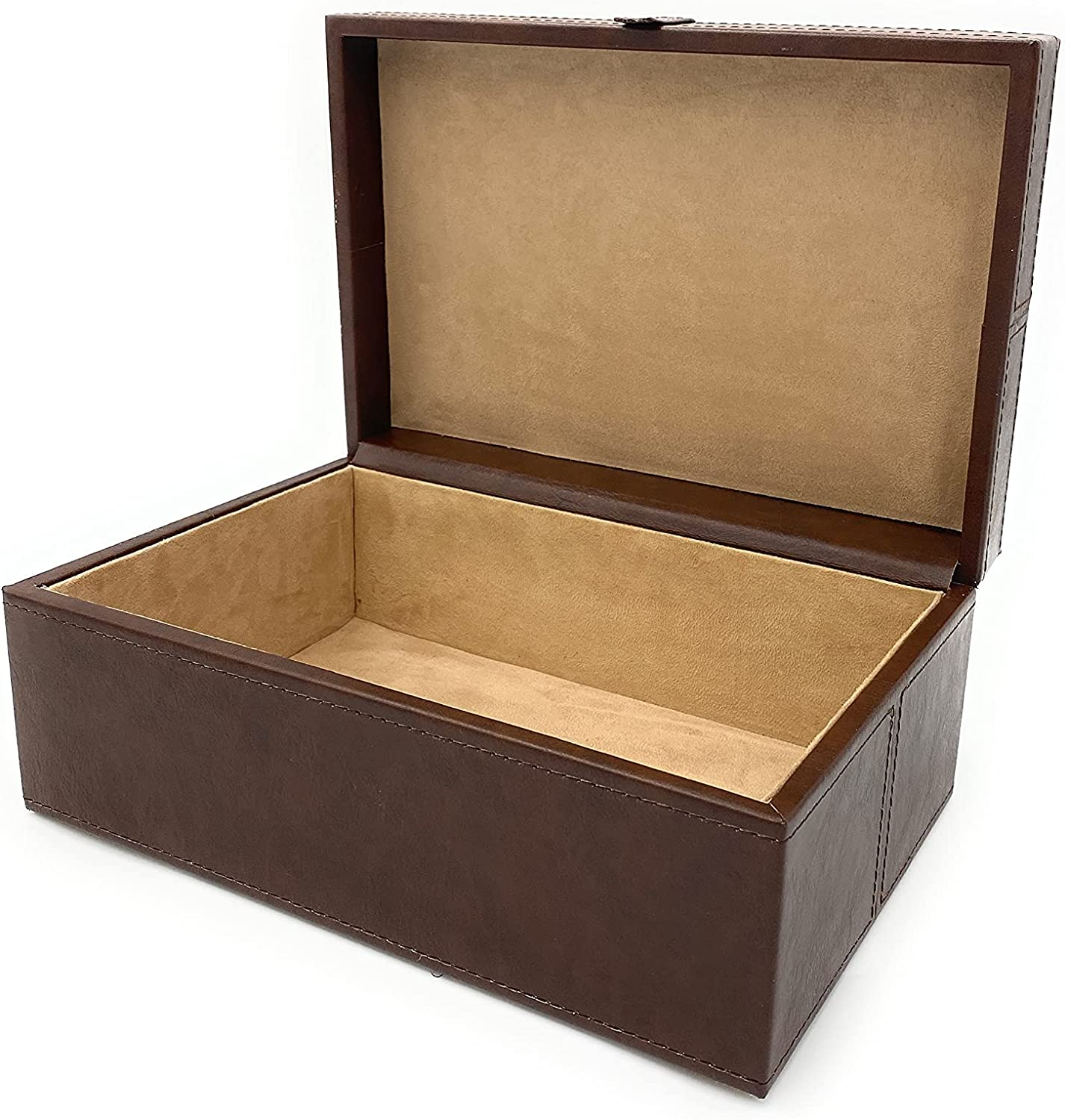 Leather box with lid Large Faux de Brown Stitching Max 50% OFF San Francisco Mall