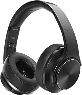 Bluetooth Headphone Over Ear, Two in One Hi-Fi Stereo Wireless Headsets & Speaker, Foldable & Most Comfort Fitting Design, Soft Protein Earmuffs, Built-in Mic, NFC, TF Card and FM Radio. (Black)