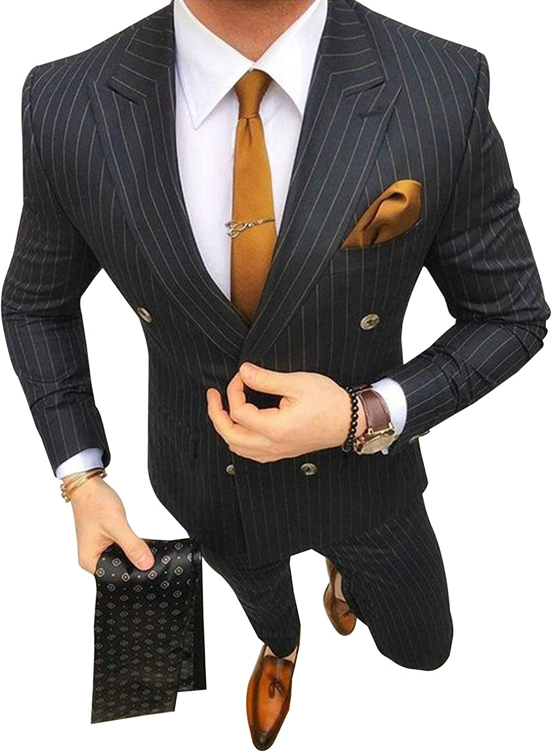 PG Mail order cheap Men's Pinstriped Max 48% OFF Classic-Fit Two-Piece Peaked New Suit Lapel