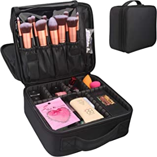 Travel Makeup Case Professional Cosmetic Bag Sturdy Make-up Artist Train Box Organizer with Adjustable Dividers and Brush Holders 2 Layers (Black)