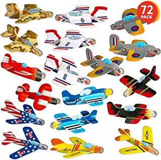 ArtCreativity Foam Gliders for Kids - Bulk Set of 72 - Lightweight Planes with Various Designs - Individually Packed Flying Airplanes - Fun Birthday Party Favors, Goodie Bag Fillers for Boys and Girls