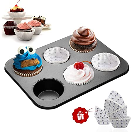 Casa Azul Aluminum Muffin Pan with 60 Pcs Muffin Liners - Pack of 1