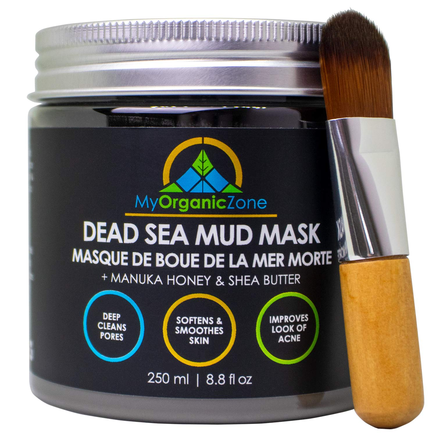 Dead Sea Mud Mask with Brush- Face & Body Deep Pore Cleansing, Acne Treatment, Anti Aging & Anti Wrinkle, Organic Natural Facial Clay Mask for Smoother and Softer Skin (250g./8.8oz.) (Single+Brush) : Beauty