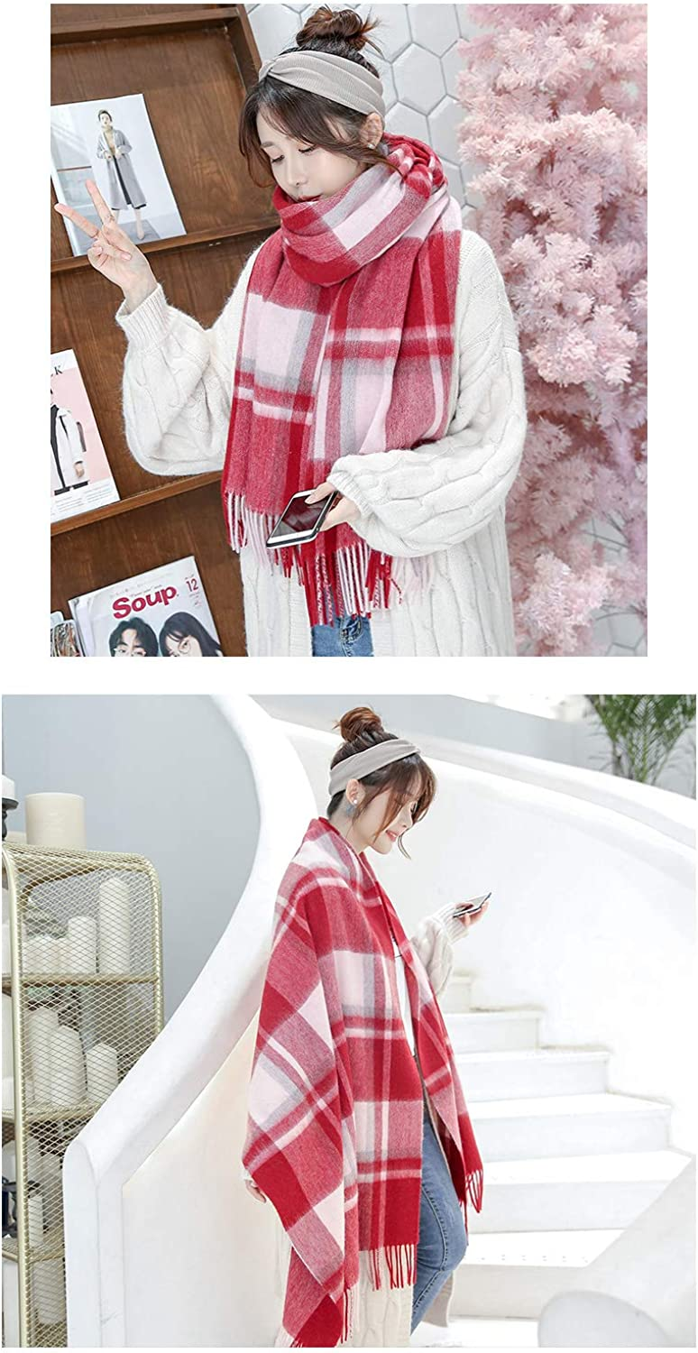 JINGB Home Plaid Scarf Female Autumn and Winter Classic bib Spring and Autumn Students Wild Spring and Autumn Shawl Dualuse (Size   B)