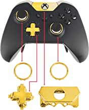 Jadebones Chrome D-pad Buttons Accent Rings Accessories Front Damper Replacement Parts for Xbox One Elite Controller (Gold)
