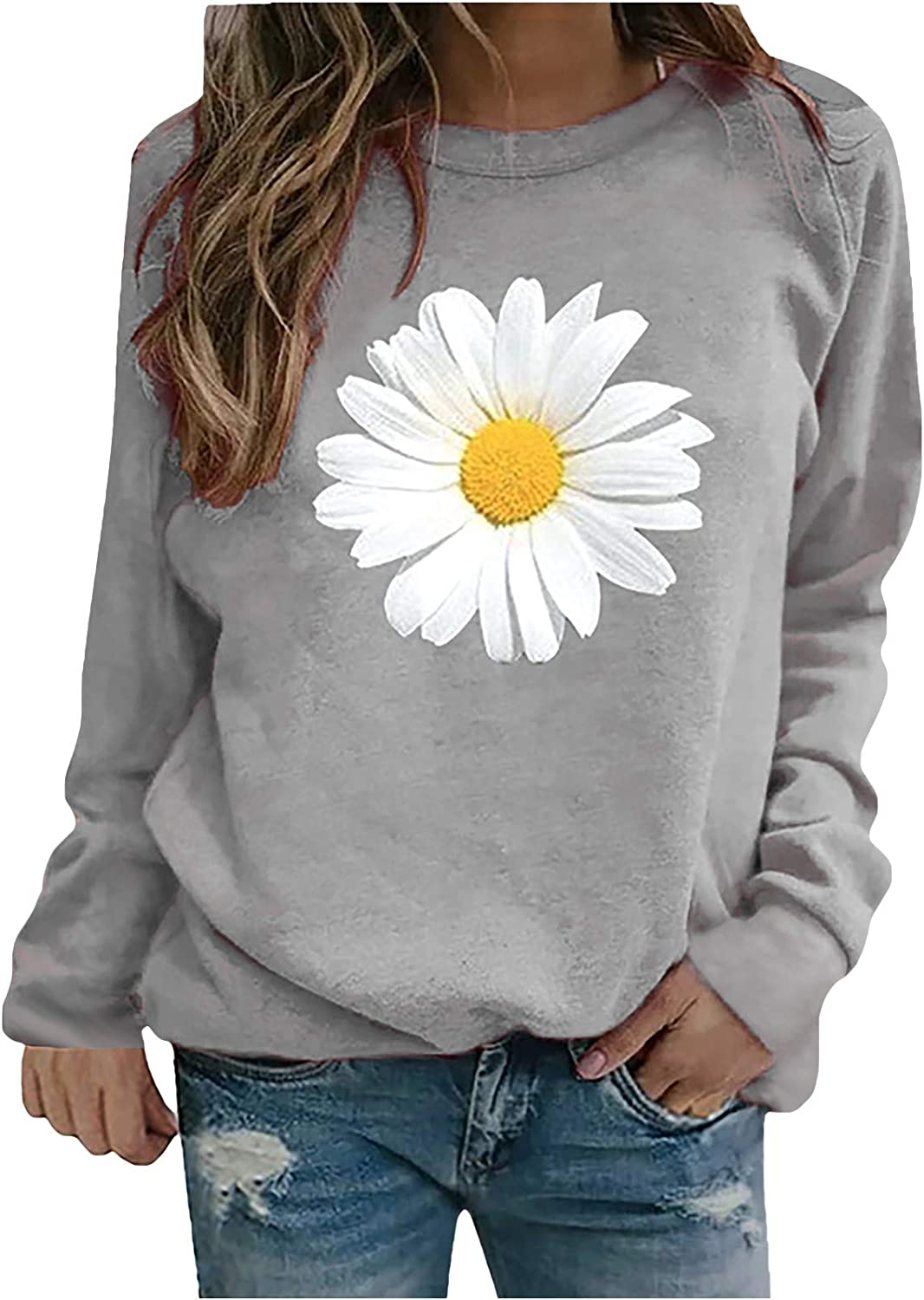 BAGELISE Women Sweatshirts,Womens Long Sleeve Tops Color Block Round Neck Shirts Casual Loose Fit Tunics Tops