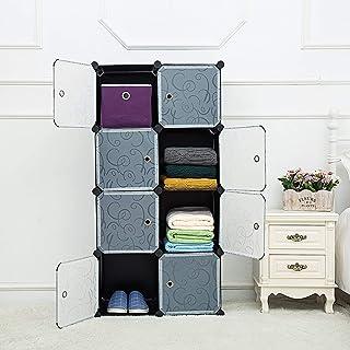 Lukzer 8 Cube Storage Organizer Wardrobe Closet Waterproof Plastic DIY Cabinet Rack with Transparent Doors & Hammer Ideal for Bedroom Balcony Home Décor 140 x 70 x 35 cm Black