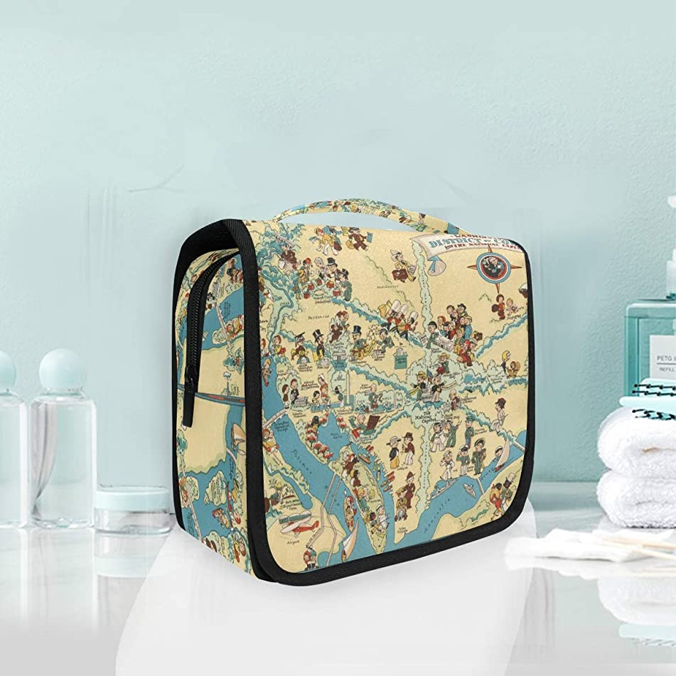 Vintage 1935 District Of Columbia State Map Large Hanging Toiletry Bag Waterproof Cosmetic Bag Makeup Travel Pouch Purse Organizer Wash Gargle bag