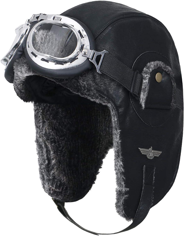 Ililily künstliches Leder Flugpilot Uschanka Trooper künstliches Pelz Ohr Flaps Winter Hut B07KQQYL3C  Die Menschen verlassen sich auf Kleidung