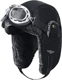 Howels Faux Leather Aviator Trapper Trooper Faux Fur Ear Flaps Hat