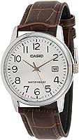 ساعة بسوار من الجلد ومينا بلون فضي للرجال من كاسيو - MTP-V002L-7B2UDF، انالوج, بني,