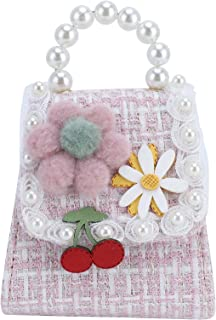Toddler Shoulder Bag, Artificial Pearl Girls Handbag All-Match Hand‑Woven Flowers for Traveling Shopping Party and Daily U...
