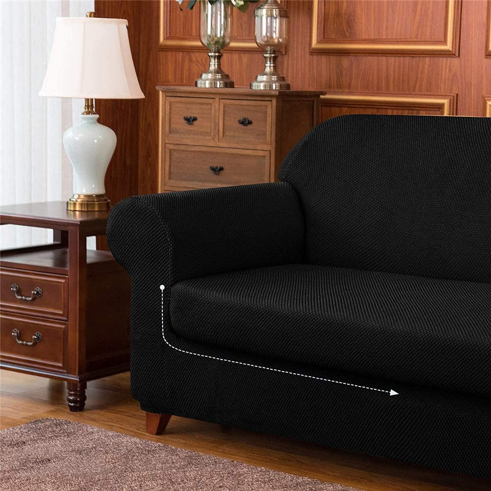 Black,1 Seater//Chair Reusable Elastic Cushion Coat LINGKY 2-Piece Granule Jacquard Sofa Slipcover High Stretch Spandex Armchair Cover Fashion Furniture Protector