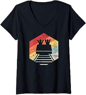Womens Retro Vintage Theme Park Lover, Thrill Ride / Roller Coaster V-Neck T-Shirt