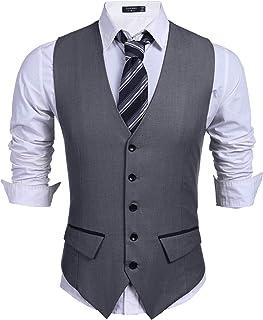 COOFANDY Men's Business Suit Vest Slim Fit Dress Vest Wedding Waistcoat