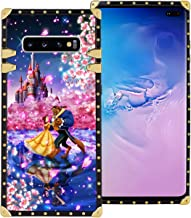 DISNEY COLLECTION Samsung Galaxy S10+ S10 Plus 6.4 Inch 2019 Luxury Square Phone Case Beauty and The Beast Dance Romantic Cover Metal Decoration Corners Precision Cutouts Shockproof Shell