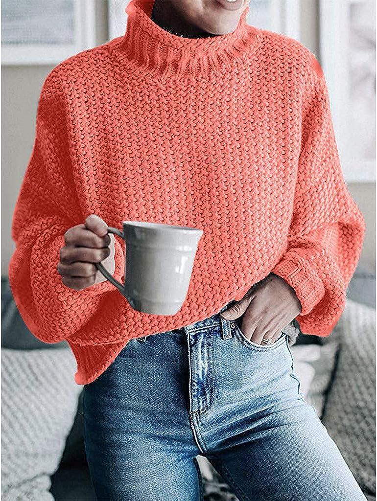 ZEELIY Damen Rollkragen Strickpullover Strickpulli Einfarbig Langarm Pulli Pullover Grobstrick Sweatshirt Winterpullover Orange