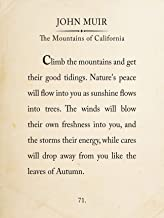 John Muir Mountain Book Page Style Literary Quote Print. Fine Art Paper, Laminated, or Framed. Multiple Sizes Available for Home, Office, or School.