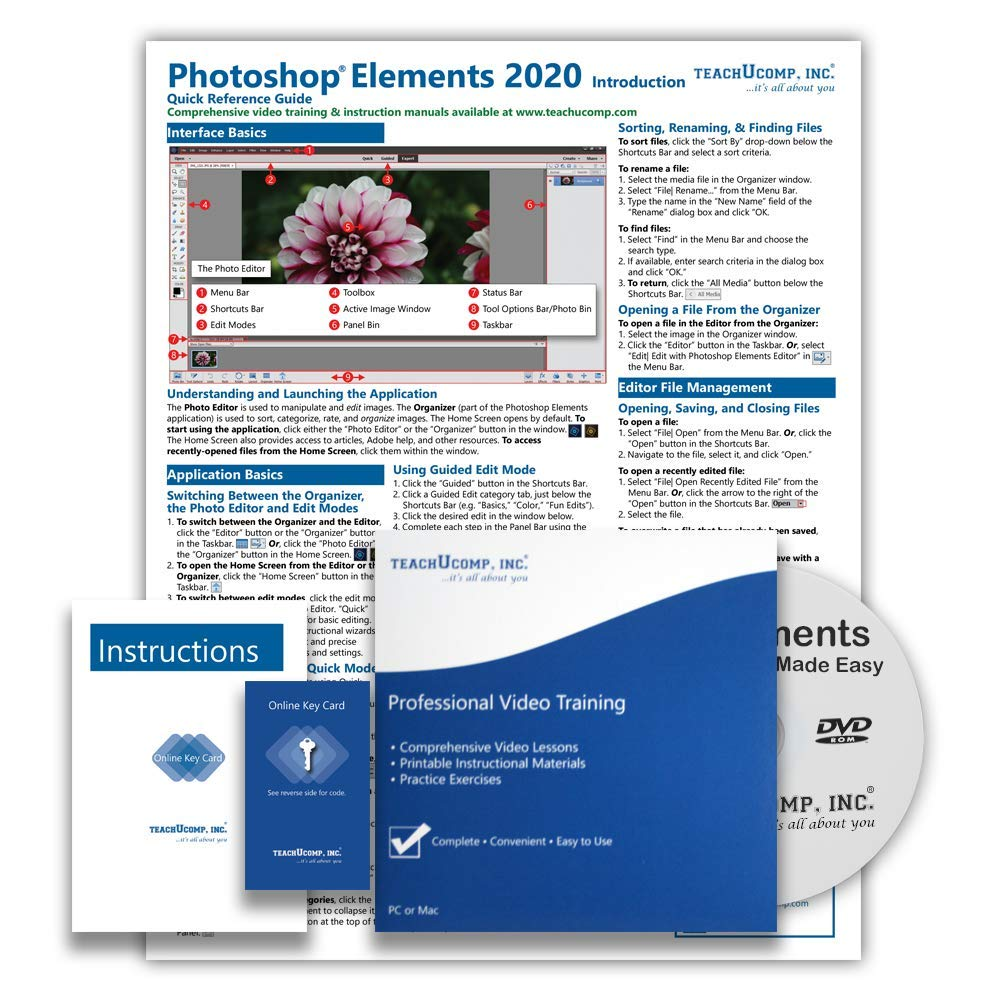 Learn Adobe Photoshop Elements 2020 DELUXE Training Tutorial Course- DVD-ROM, Online Access, Manual, Exam, Certificate of Completion and Quick Reference Guide